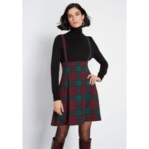 Modcloth Plaid Overall Jumper